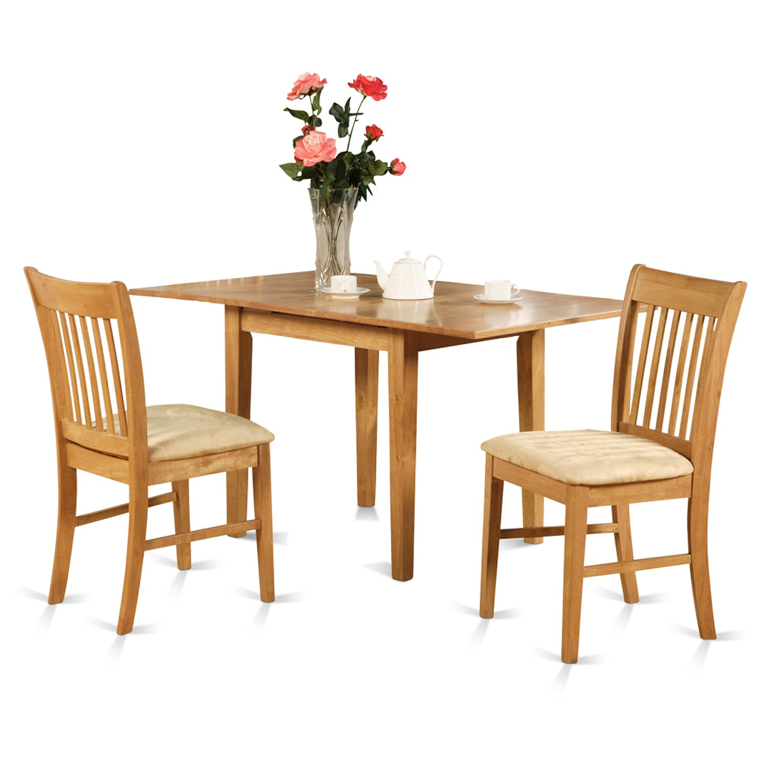 Oak Small Kitchen Table and 2 Kitchen Chairs 3-piece Dini...