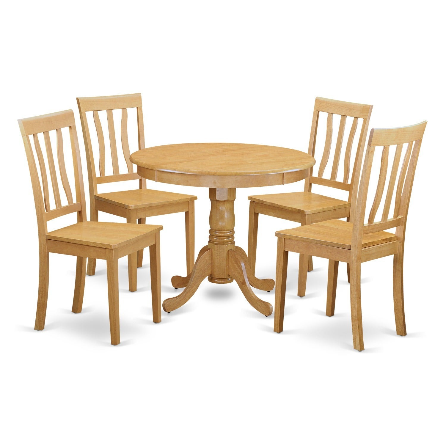 Oak Small Kitchen Table and 4 Chairs Dining Set (Oak), Br...