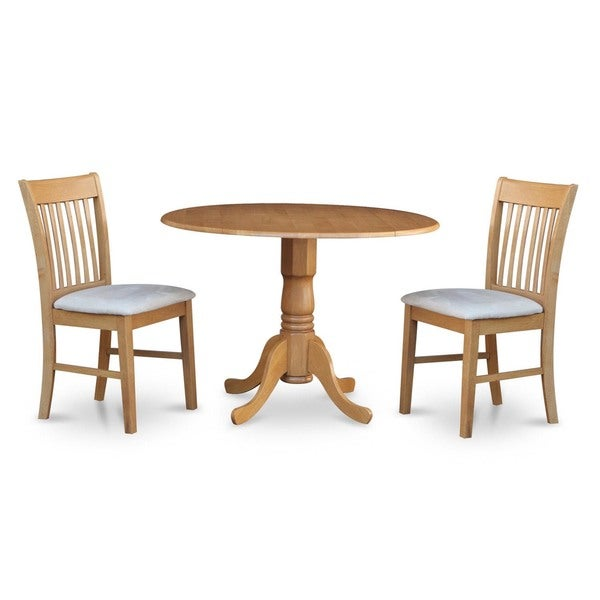 Oak small table and 2 dinette chairs 3 piece dining set for Small dinette sets