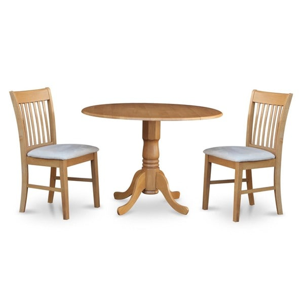 oak small table and 2 dinette chairs 3 piece dining set