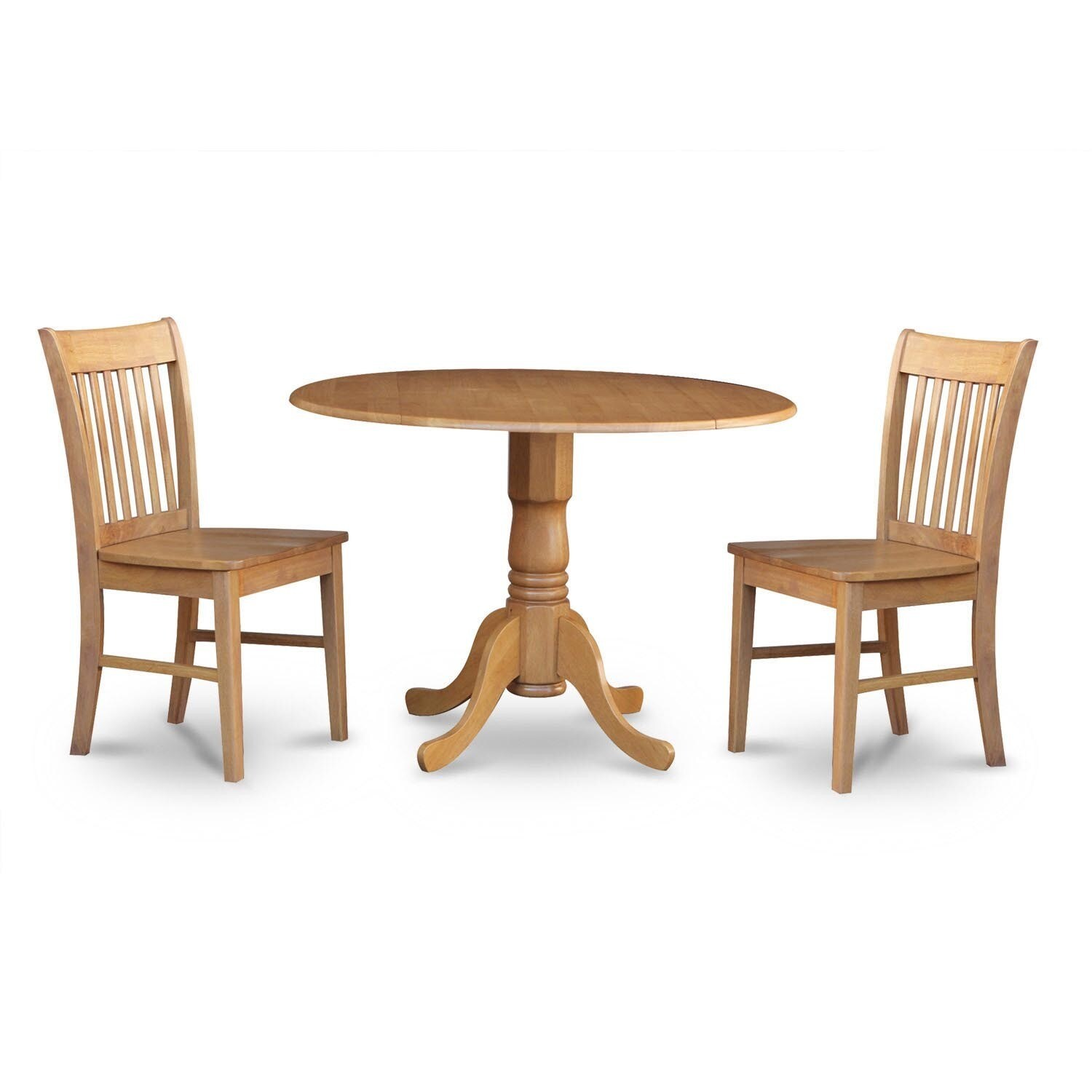 Oak Small Table and 2 Dinette Chairs 3-piece Dining Set (...