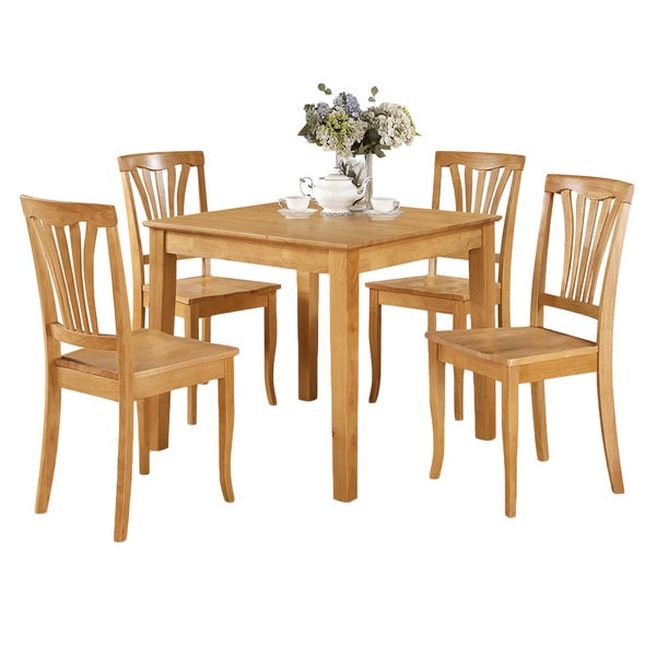 Oak square dinette table and 4 kitchen chairs 5 piece for 4 piece kitchen table set