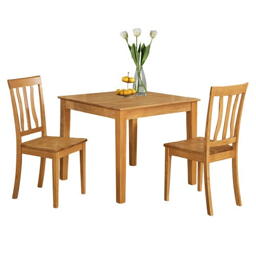 Oak Kitchen Tables And Chairs Sets: Oak Square Kitchen Table And 2 Chairs 3-piece Dining Set