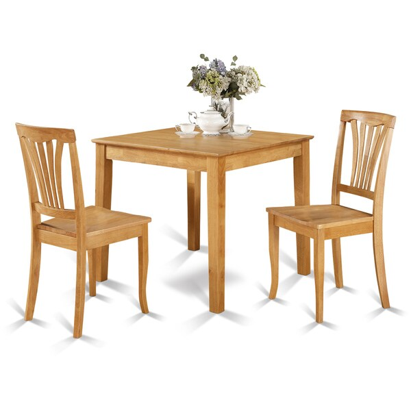 Oak Kitchen Tables And Chairs Sets: Oak Square Table And 2 Chairs 3-piece Dining Set