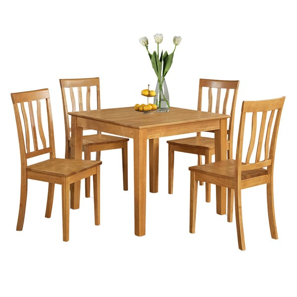 shop oak square table and 4 kitchen chairs dining set free shipping today overstock 10201211. Black Bedroom Furniture Sets. Home Design Ideas