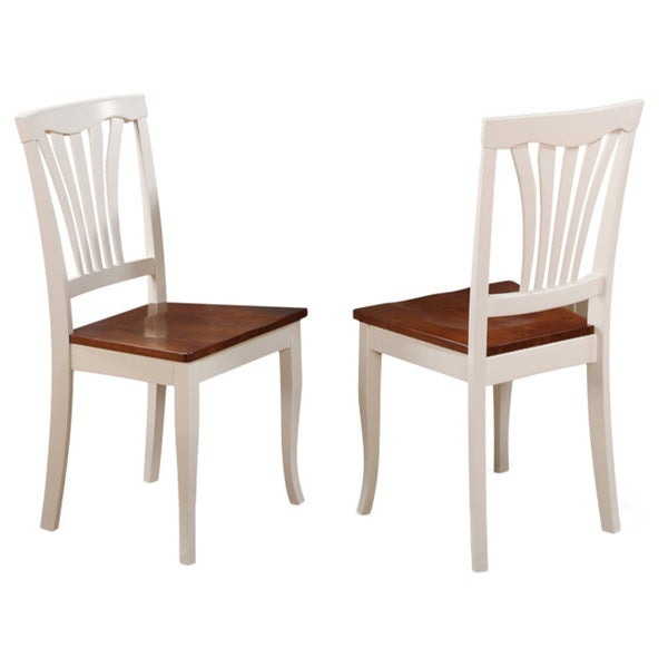 Avon Buttermilk and Cherry Finish Dining Chair Wood Seat (Set of 2)
