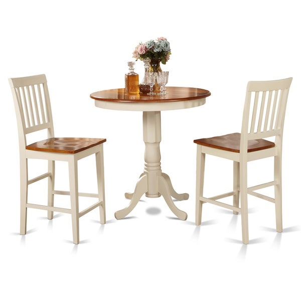 white counter height table and 2 kitchen chairs 3 piece dining set