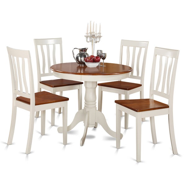 Buttermilk And Cherry Kitchen Table And Four Kitchen Chair 5 Piece Dining  Set