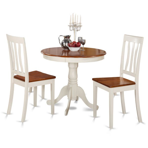 Buttermilk and Cherry Kitchen Table and Two Chair 3-piece Dining Set