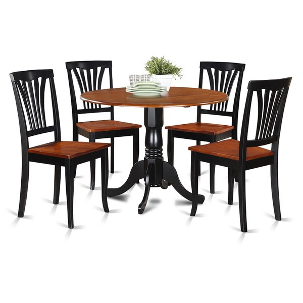 Black and cherry kitchen table and four kitchen chair 5 for Four chair dining table set