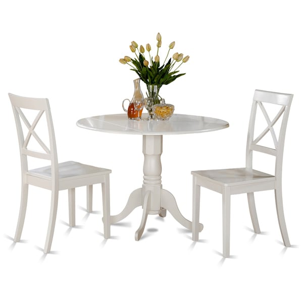 Black And Cherry Round Table And Two Dinette Chair 3 Piece: Linen White Table And 2 Chairs 3-piece Dining Set
