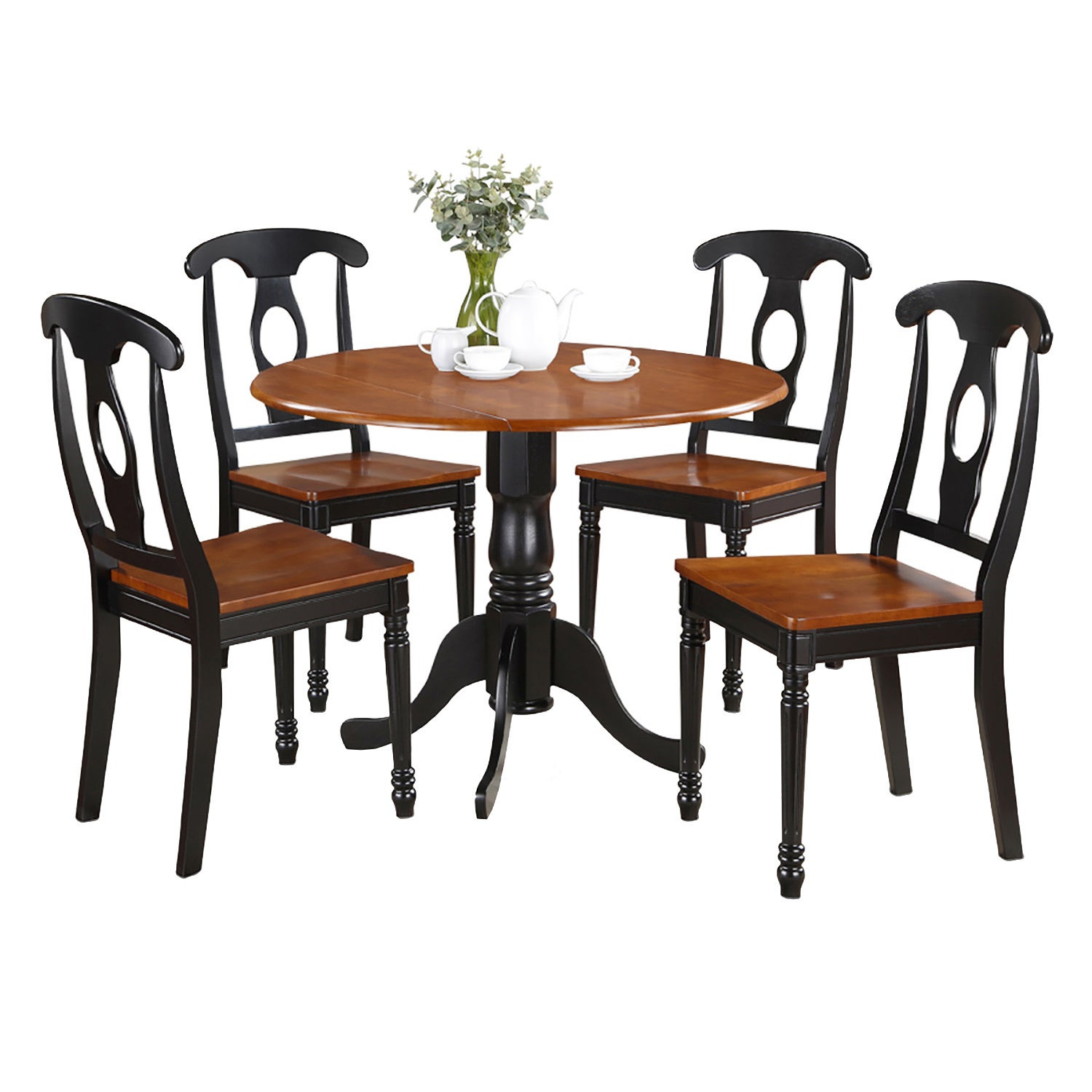 Black and Cherry Table with Four Dinette Chair Dining Set...