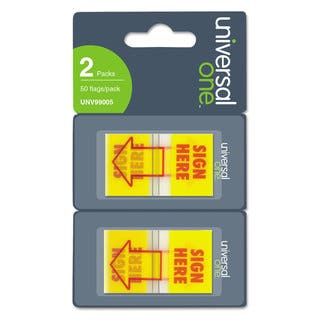 "Universal One ""Sign Here"" Arrow Yellow/Red Page Flags (Pack of 300 Flags/12 Dispensers)