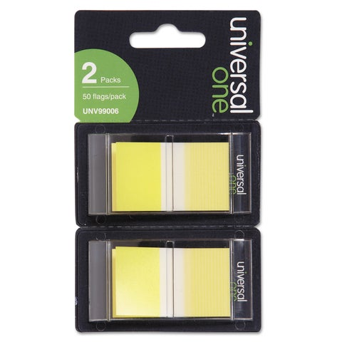 Universal One Yellow Page Flags (Pack of 300 Flags/12 Dispensers)