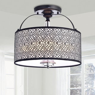 Amalia Antique Black Finish Metal Drum Shade Flush Mount Chandelier