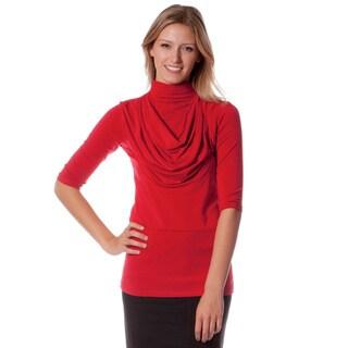 AtoZ Women's Modal 3/4 Sleeve Mock Neck Top