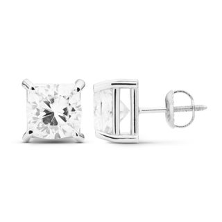 Charles & Colvard 14k White Gold 4.00 TGW Cushion Forever Brilliant Moissanite Stud Earrings
