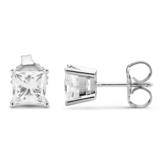 Charles & Colvard 14k White Gold 2.00 TGW Square Forever Brilliant Moissanite Stud Earrings