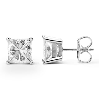 Charles & Colvard 14k White Gold 3.40 TGW Square Forever Brilliant Moissanite Stud Earrings