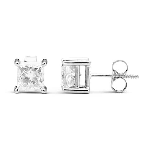 Charles & Colvard 14k White Gold 1.60 TGW Square Forever Brilliant Moissanite Stud Earrings