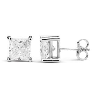 Charles & Colvard 14k White Gold 2.60 TGW Square Forever Brilliant Moissanite Stud Earrings