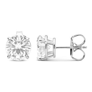 Charles & Colvard 14k White Gold 3.00 TGW Round Forever Brilliant Moissanite Stud Earrings