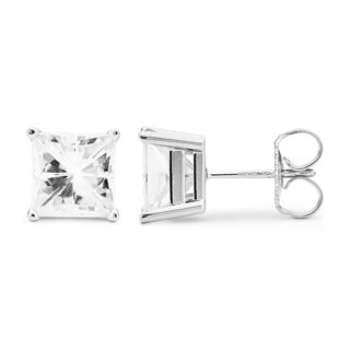 Charles & Colvard 14k White Gold 4.20 TGW Square Forever Brilliant Moissanite Stud Earrings