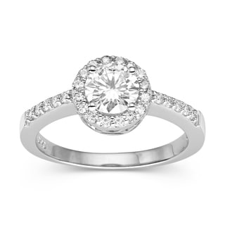 Charles & Colvard 14k White Gold Classic Moissanite Halo Ring
