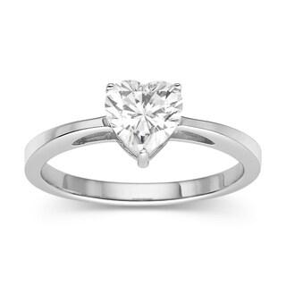 Charles & Colvard 14k White Gold 1.00 TGW Heart Classic Moissanite Solitaire Ring