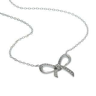 Eternally Haute Sterling Silver Cubic Zirconia Pave Bow Necklace