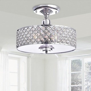Martina Chrome Finish Crystal 3-light Flush Mount Chandelier