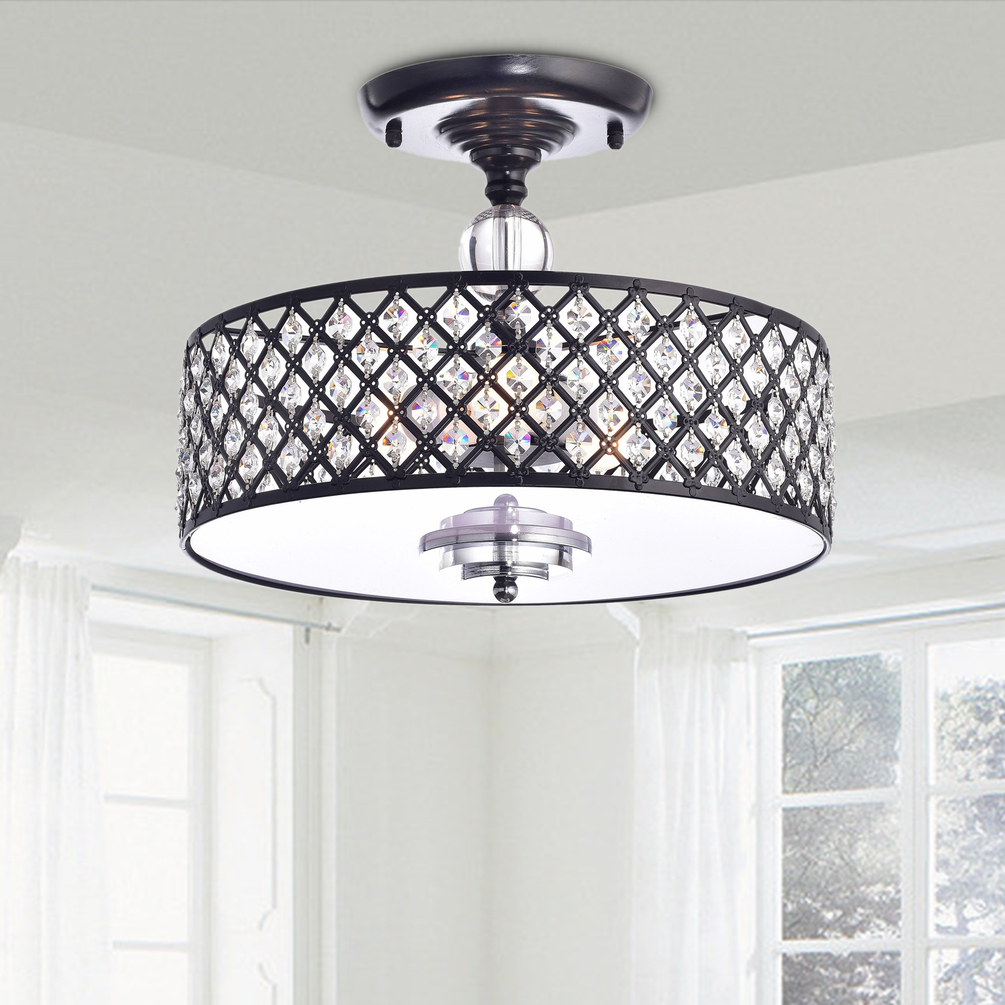 Shop Martina Antique Black Crystal 3-light Flush Mount ...