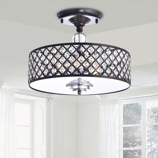 Martina Antique Black Crystal 3-light Flush Mount Chandelier
