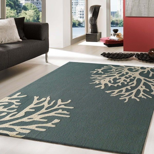 Dark Green Trees Outdoor Rug 5 X 7