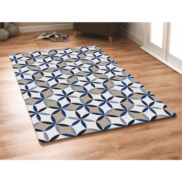 Geometric Blue Indoor Outdoor Area Rug 5 x 7 Free