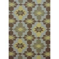 Geometric Brown Outdoor Rug - 5' x 7'