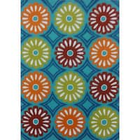 Turquoise Floral Outdoor Rug - 5' x 7'
