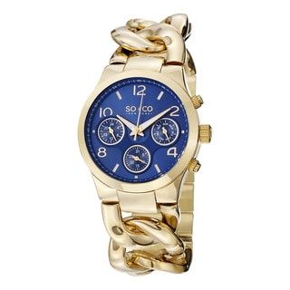 SO&CO New York Women's SoHo Quartz Multifunction Gold Tone Watch with Link Chain Bracelet