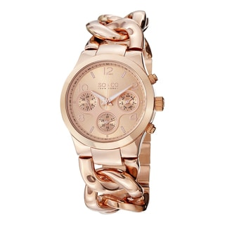 SO&CO New York Women's SoHo Quartz Rose Tone Watch with Link Chain Bracelet