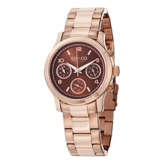 SO&CO New York Women's Madison Quartz Rose Tone Watch with Link Bracelet|https://ak1.ostkcdn.com/images/products/10201502/P17325435.jpg?impolicy=medium