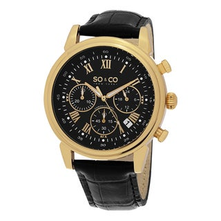 SO&CO New York Men's Monticello Quartz Chronograph Watch with Black Leather Strap