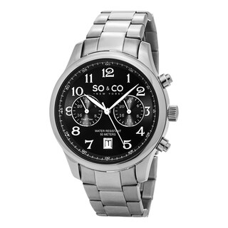 SO&CO New York Men's Monticello Quartz Watch with Stainless Steel Link Bracelet