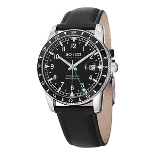 SO&CO New York Men's Yacht Club Quartz Watch with Black Leather Strap