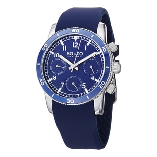 SO&CO New York Men's Yacht Club Quartz Watch with Blue Rubber Strap