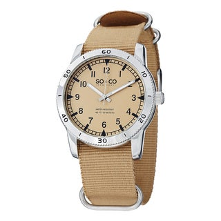 SC&CO New York Unisex Yacht Club Quartz Watch with Tan Canvas Strap