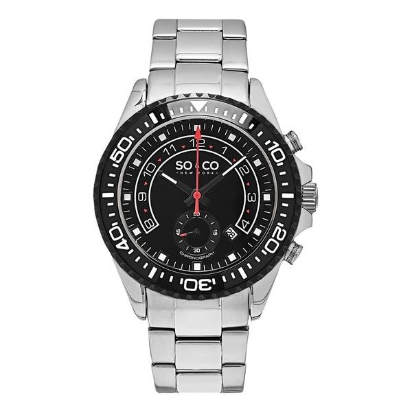 SO&CO New York Men's Yacht Club Quartz Stainless Steel Bracelet Watch - Silver