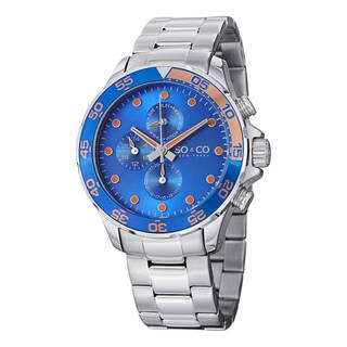 SO&CO New York Men's Yacht Club Quartz Unidirectional Watch with Stainless Steel Bracelet
