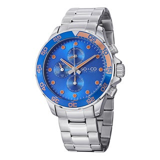 SO&CO New York Men's Yacht Club Quartz Unidirectional Watch with Stainless Steel Bracelet
