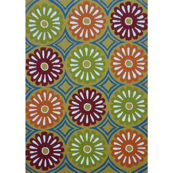 Green Floral Outdoor Rug - 5' x 7'