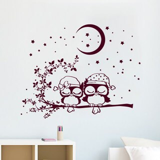 Cute Owls Nursery Vinyl Sticker Wall Art